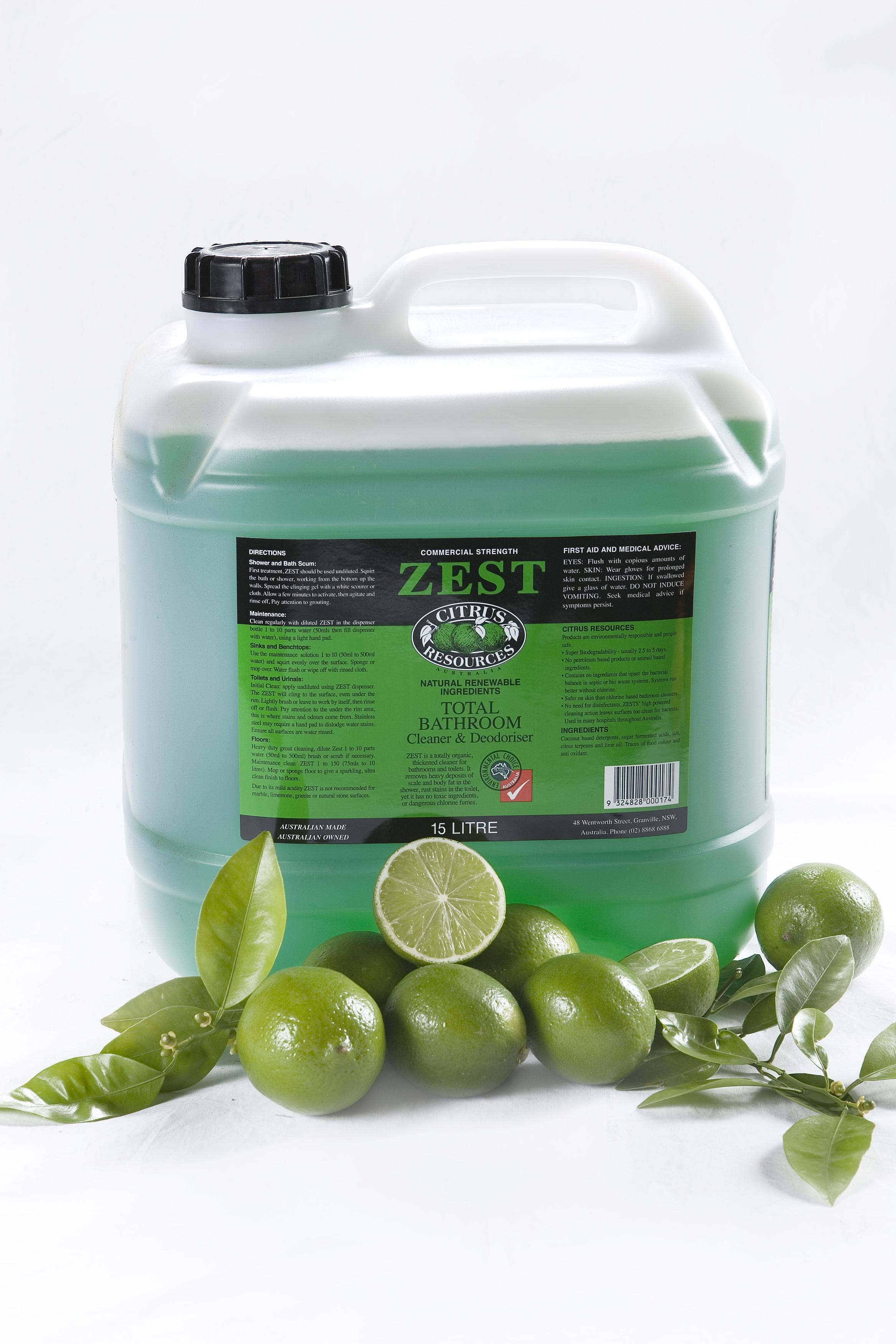 Zest bathroom cleaner - Citrus Resources Zest Washroom 5l