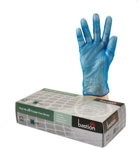 Bastion Vinyl Blue Powder Free Glove SML - Click for more info