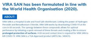 Vira San Hospital Grade Disinfectant 5L