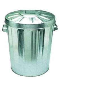 Oates Galvanised Rubbish Bin W/Lid 55L - Click for more info