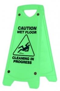 Caution WET FLOOR Sign A-Frame - Green