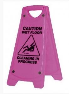 Caution WET FLOOR Sign A-Frame - Pink