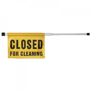 Spring Loaded Closed For Cleaning Sign - Click for more info