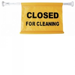 Closed for Cleaning Door Sign locked - Click for more info