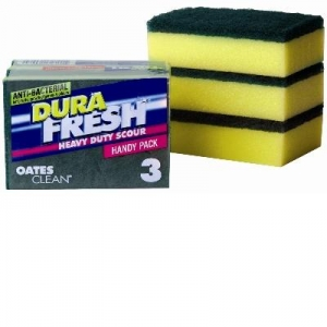 Oates Scourer Sponge 3-Pk Yellow & Green