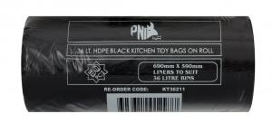 36L Kitchen Tidy Liner BLACK 1000p/Ctn