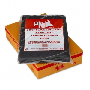 240L Garbage Bags Black Heavy D 100/Ctn - Click for more info