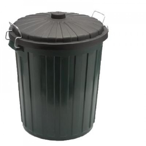 Rubbish Bin 75L Plastic Green with Lid - Click for more info