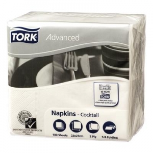 Tork Advanced Napkins 2P Cocktail White - Click for more info