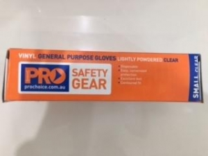 Clear Vinyl Gloves Small 100x10 Showroom