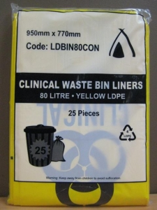 Bin Liners Contaminated 80L 200/Ctn - Click for more info